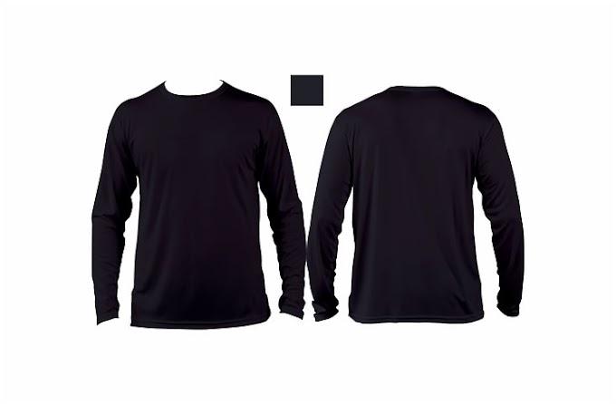 Desain Kaos Polos Lengan Panjang Depan Belakang Warna Hitam