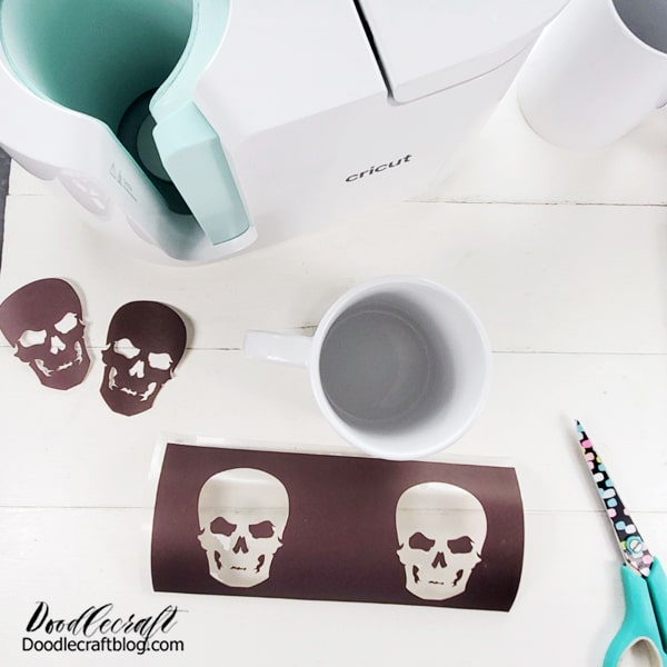 Step 2: Weed the Infusible Ink Using dry hands, carefully peel the excess Infusible ink away from the backing. Touch the ink side of the transfer as LITTLE as possible or ink will rub away. Peel it like a sticker.  Lift off the positive shapes carefully and you can use them as a second mug!
