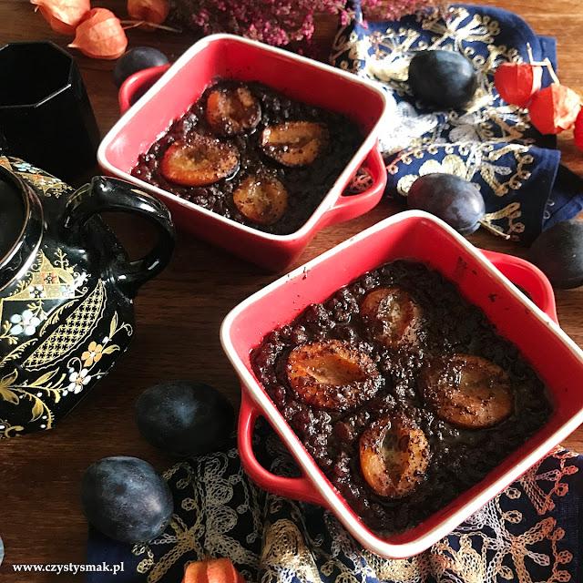 Czekoladowy ryż shirataki z owocami