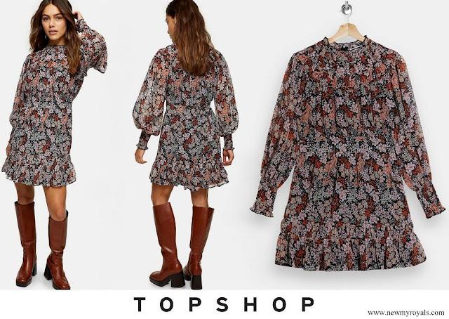 Princess Josephine wore a TOPSHOP Floral Print Yoke Ruched Mini Dress