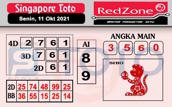 Redzone SGP Senin 11 Oktober 2021