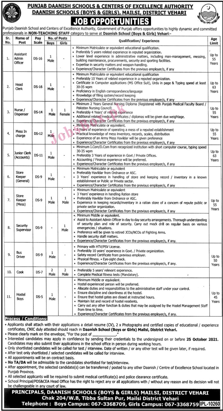 Punjab Daanish Schools and Centres of Excellence Authority Jobs 2021 in Pakistan