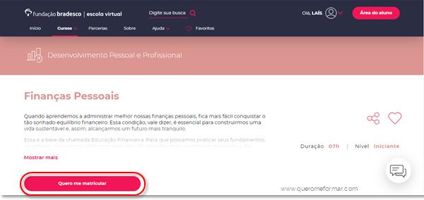 Como se matricular no Curso Online de Finanças Pessoais GRATUITO Com Certificado de Conclusão da Fundação Bradesco