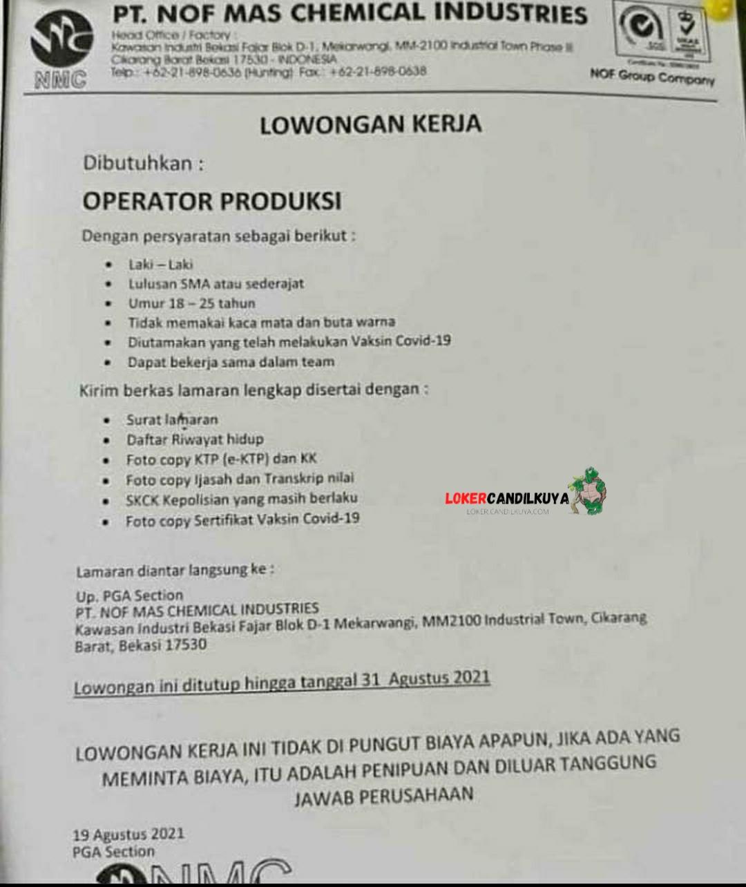 Lowongan Kerja PT Nof Mas Chemical Industries