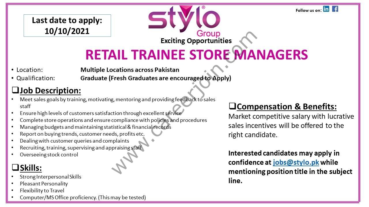 Stylo Pvt Ltd Jobs Retail Trainee Store Officers