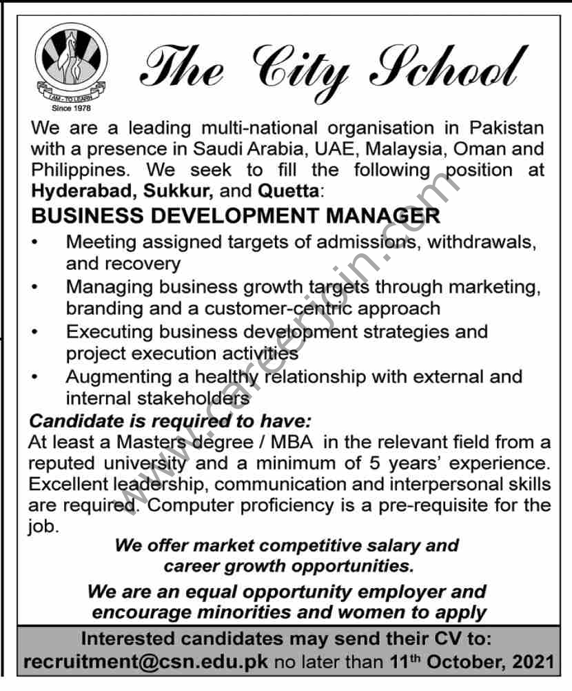 The City School Jobs Business Development Manager