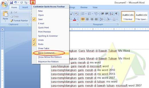 Cara Menghilangkan Garis Merah Dan Hijau di Bawah Tulisan Pada Ms Word