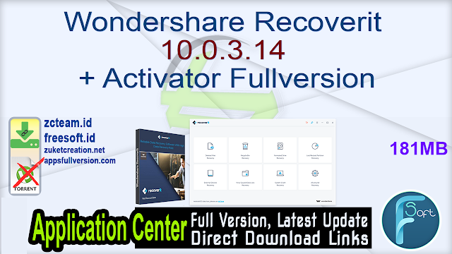 Wondershare Recoverit 10.0.3.14 + Activator Fullversion