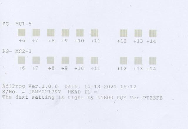 Hasil print kalibrasi untuk mengatasi hasil print berbayang pada printer epson