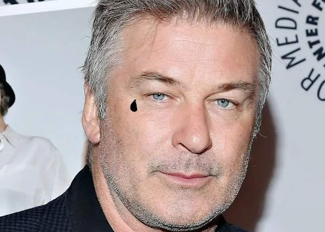 ALEC BALDWIN IN THE CLEAR AFTER PAINTING SMALL BLACK TEARDROP ON FACE