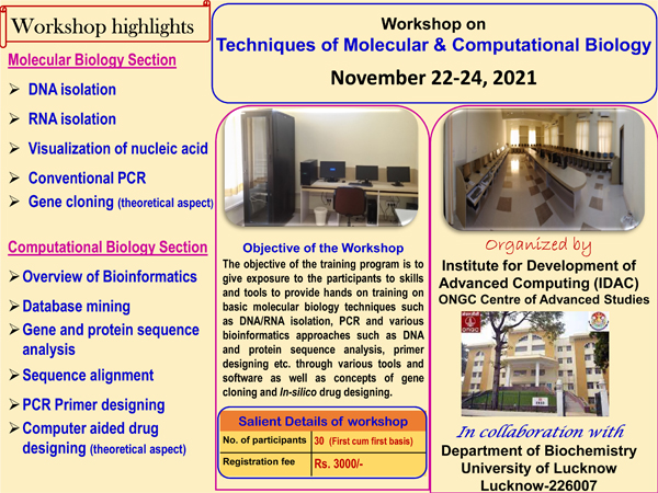 University of Lucknow Workshop on Techniques of Molecular and Advanced Studies | November 22-24, 2021