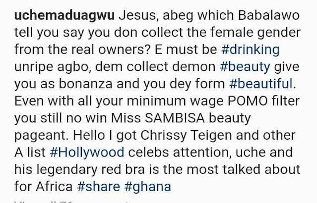 Nobody can compete with Your Minimum wage pomo Filter- Uche Maduagwu slams Bobrisky