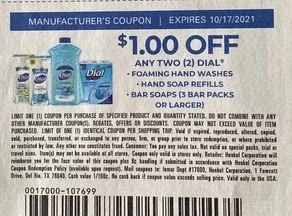 """$1.00/2 Dial hand soap Packs+ Coupon from """"SAVE"""" insert week of 10/2/21."""