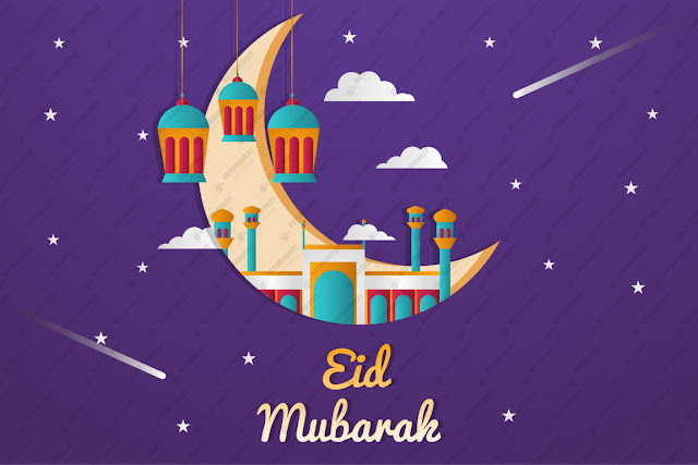 Realistic eid al-fitr - eid mubarak illustration free vector download