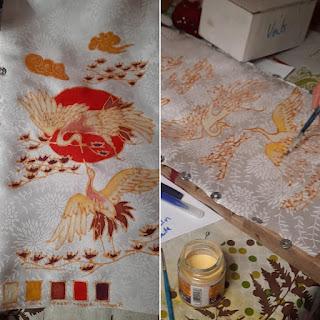 D'Ors et de Soie, robe japonisante peinte à la main