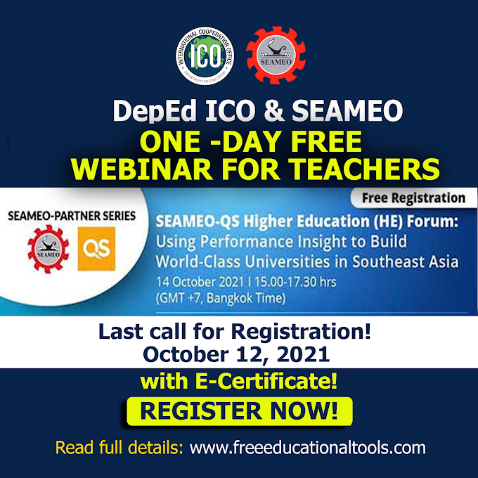 SEAMEO Free International Webinar with e-Certificate | October 14, 2021 | REGISTER NOW!