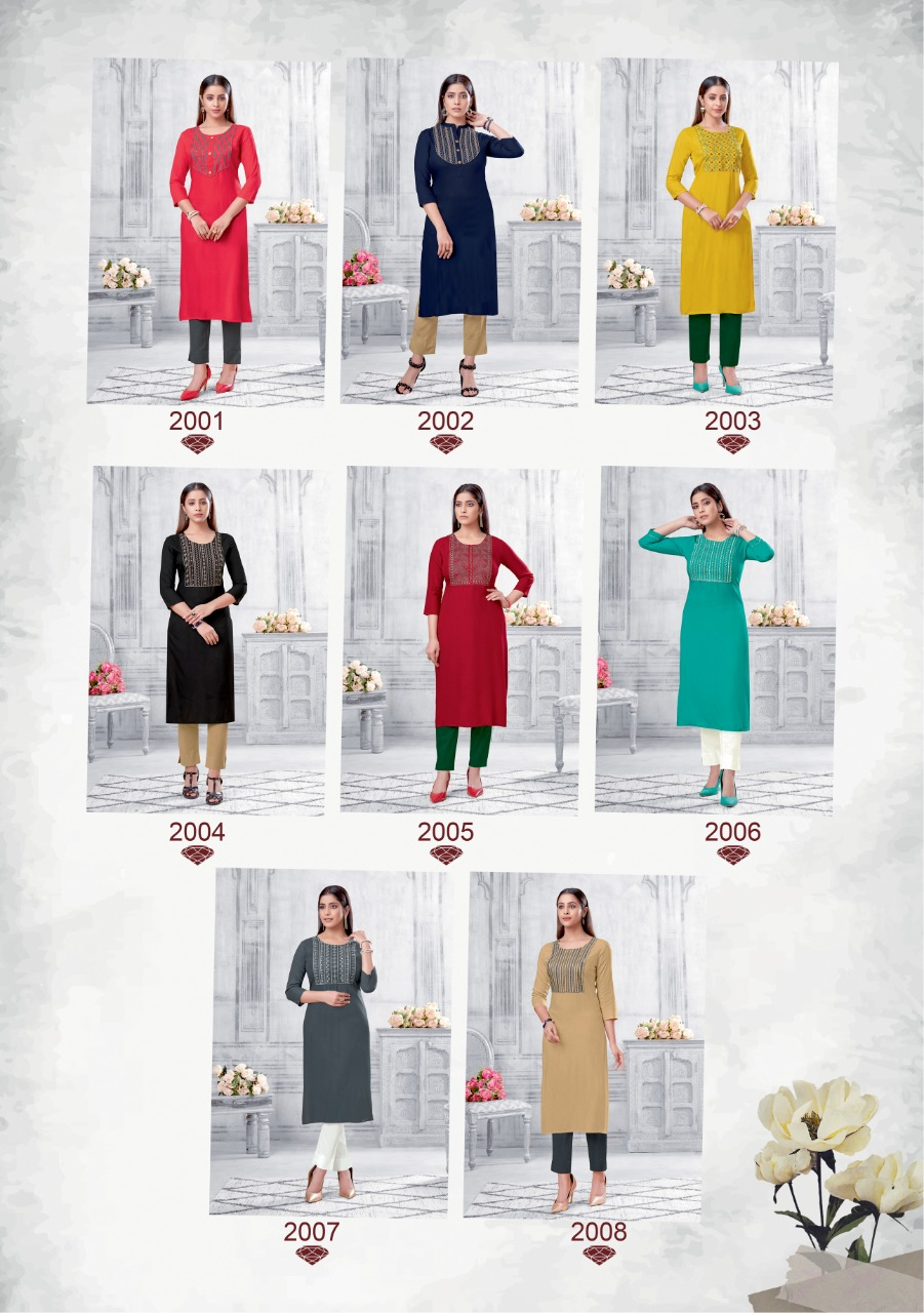 Suryajyoti Nirja Advance Vol 2 Straight Cut Kurtis Catalog Lowest Price
