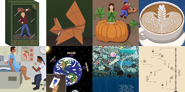 All of my first 8 Octobit images together.