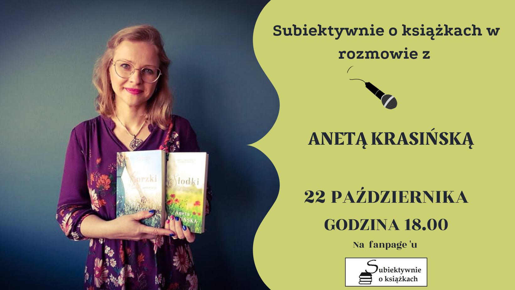 Zapraszam na spotkanie autorskie online z Anetą Krasińską