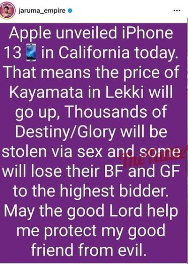 As Apple Unveils Iphone 13, Kayanmata will go up and Thousands of destiny will be stolen- Kanyamata seller, Jaruma brags
