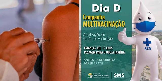 Senador Canedo realiza Dia D da Campanha Nacional de Multivacinação neste sábado (16)