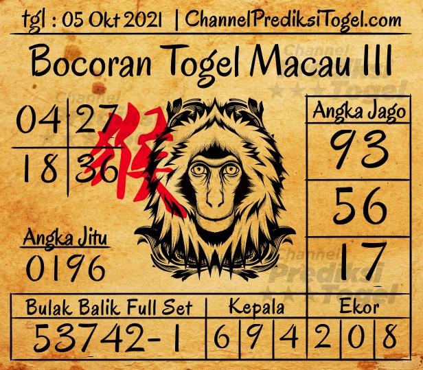 Bocoran Togel Toto Macau III