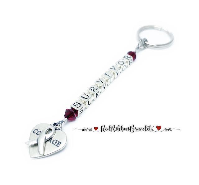 Courage Ribbon Survivor Key Chain - 18 color options