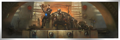 """New York Comic Con 2021 Exclusive The Mandalorian """"Boba's Throne"""" Star Wars Giclee Print by Pablo Olivera x Bottleneck Gallery"""