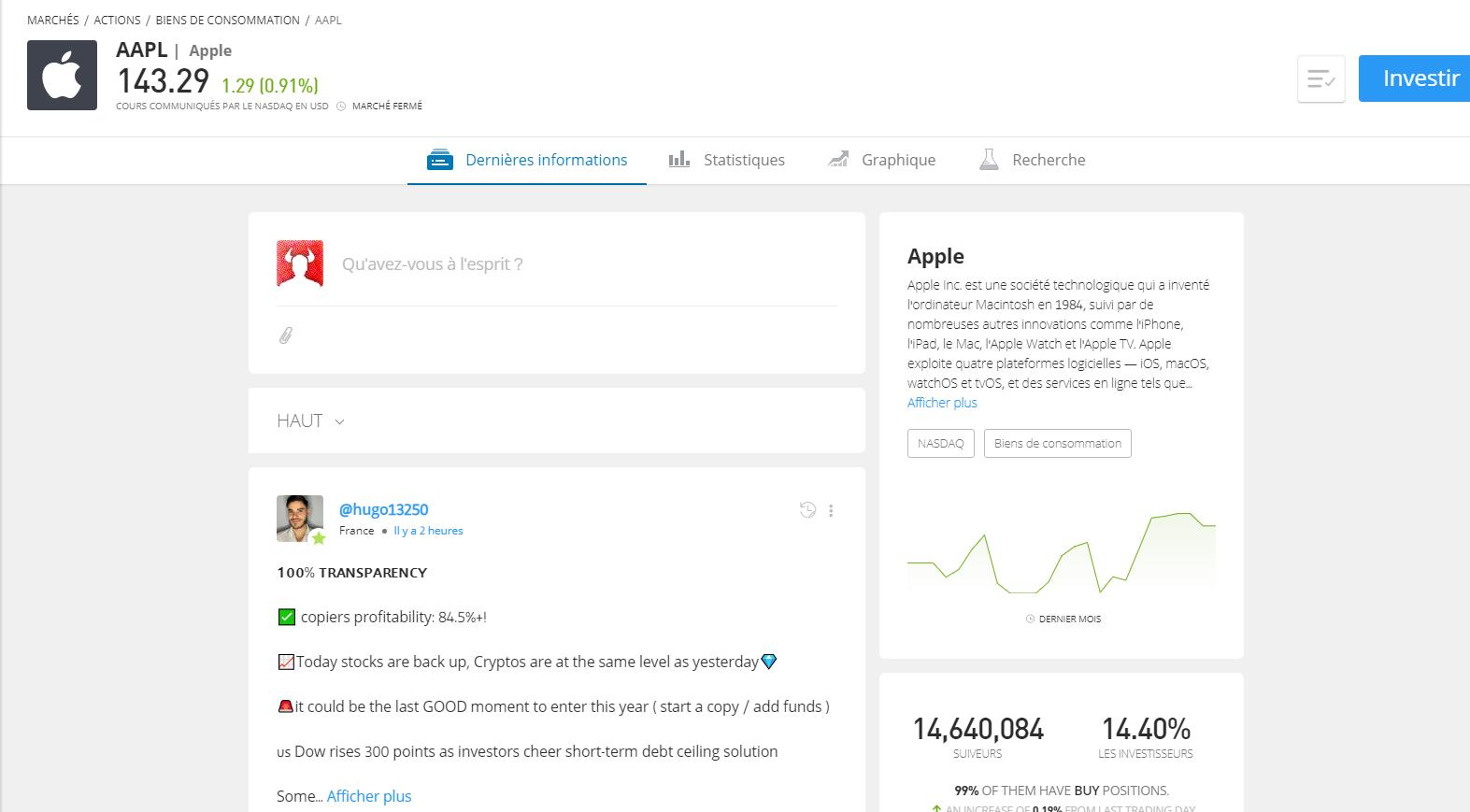 Investir sur Apple eToro
