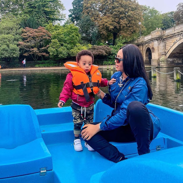 Lovely moment as Regina Daniels and her son serves us a Mother and son goals (Photos)