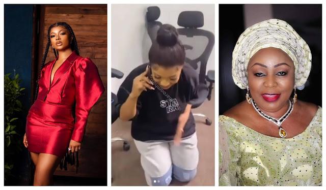 Sweet Moment as BBNaija star, Liquorose Kneels down for Senator Ita Giwa while on a call with her (Video)