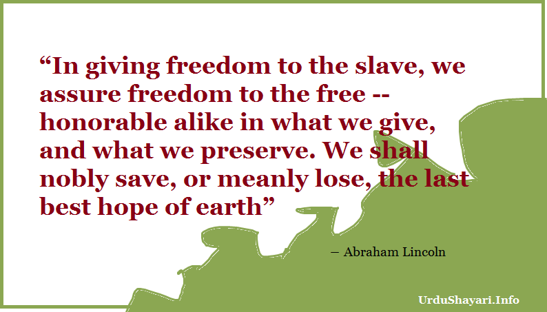 abraham lincoln quotes on freedom - in giving freedom to the slave- hope quote