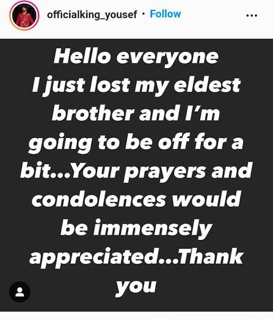 BBNaija star, Yousef loses his brother