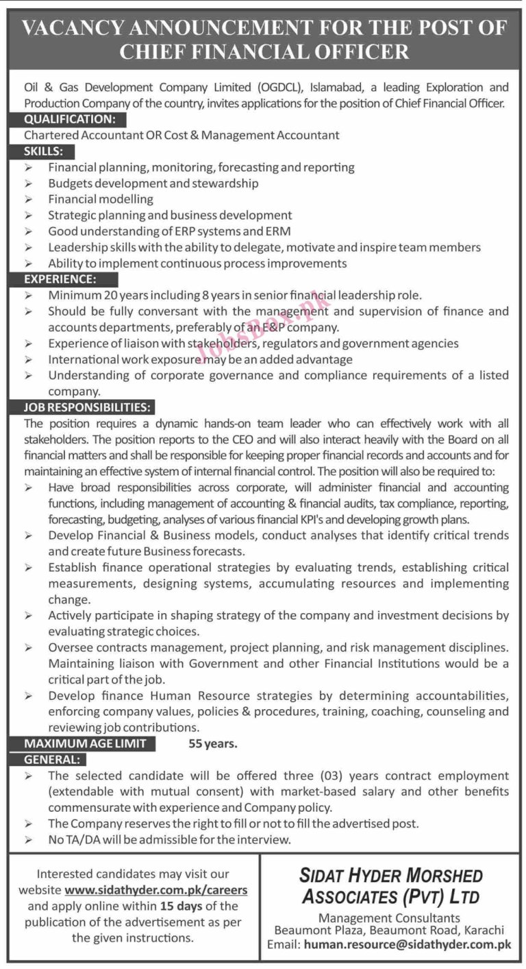 www.sidathyder.com/careers - OGDCL Oil & Gas Development Company Limited Jobs 2021 in Pakistan