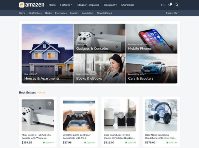 Amazen - Best Responsive Affiliate Blogger Template in 2021