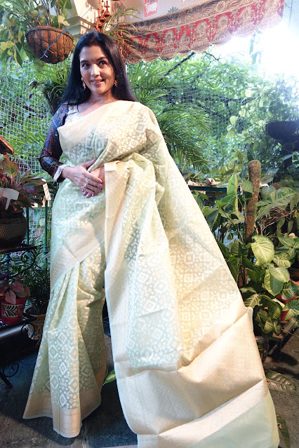 Silk cotton Banarasi saree with patola like weave