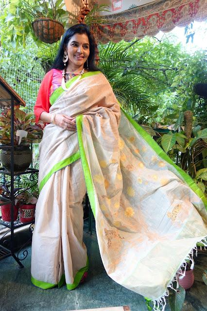 Tussar and ponduru khadi saree