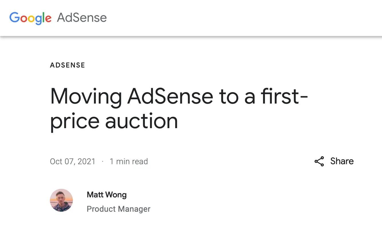 لقطة شاشة من إعلان موظّف Google AdSense للانتقال لمزاد السّعر الأوّل