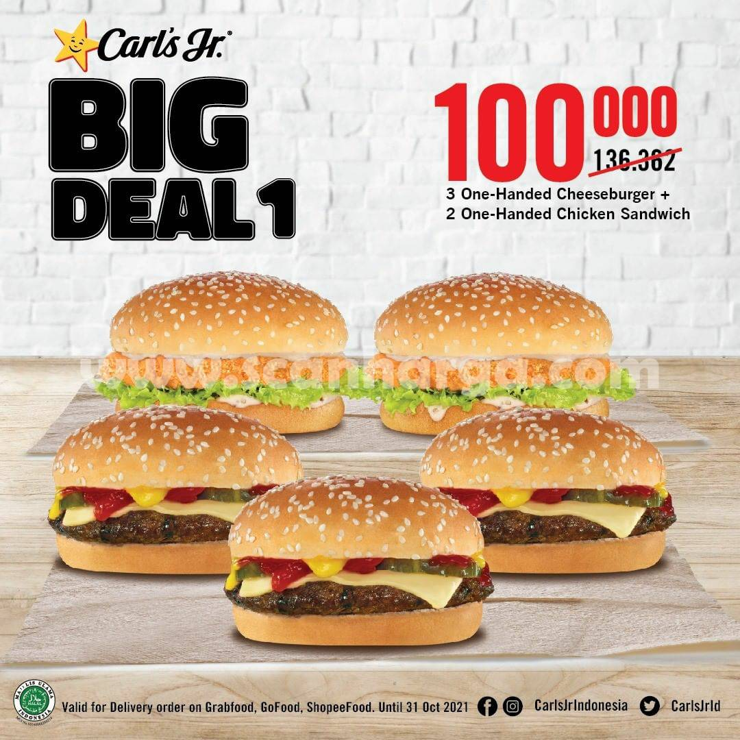 CARLS JR Promo PAKET BIG DEAL! 5 Burger cuma Rp. 100.000