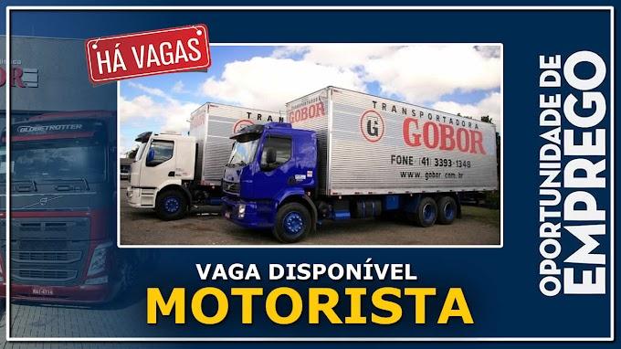 Transportadora Gobor abre vagas para motorista carreteiro