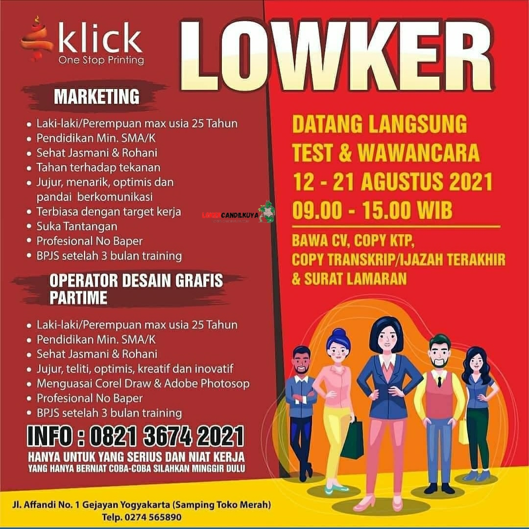 Lowongan Kerja Klick One Stop Printing Yogyakarta