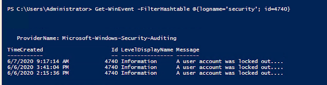 Get-WinEvent -FilterHashtable @{logname='security'; id=4740}