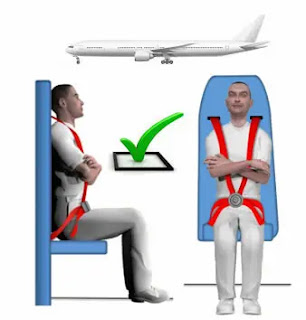 Brace position in rearward-facing cabin crew seats, without and with a bulkhead