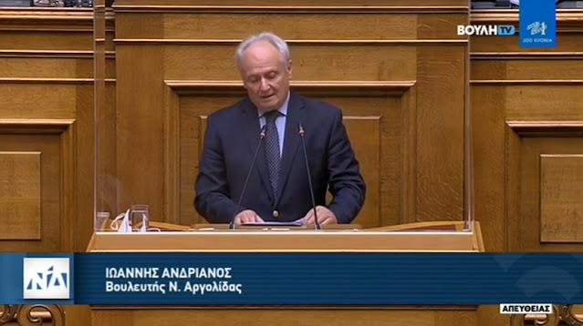 Ομιλία Ανδριανού στη βουλή για ενέργεια και δασικούς χάρτες (βίντεο)