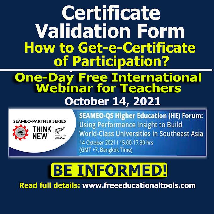 SEAMEO October 14 Free Webinar Certificate Validation or Feedback Form