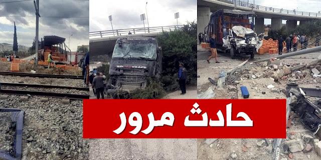 حادث مرور فظيع، سقوط شاحنة من فوق جسر ببرج السدرية