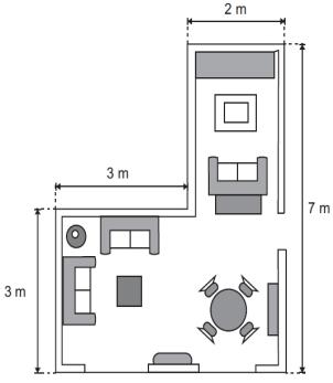 Observe, a seguir, a planta baixa da sala do apartamento de Luiza, cujo formato é composto pela justaposição de duas superfícies retangulares.