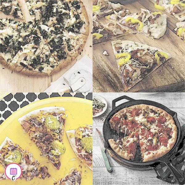 Alfredo Pizza, Bacon Cheeseburger Pizza, BBQ Chicken Pizza, Deep-Dish Sausage Pizza