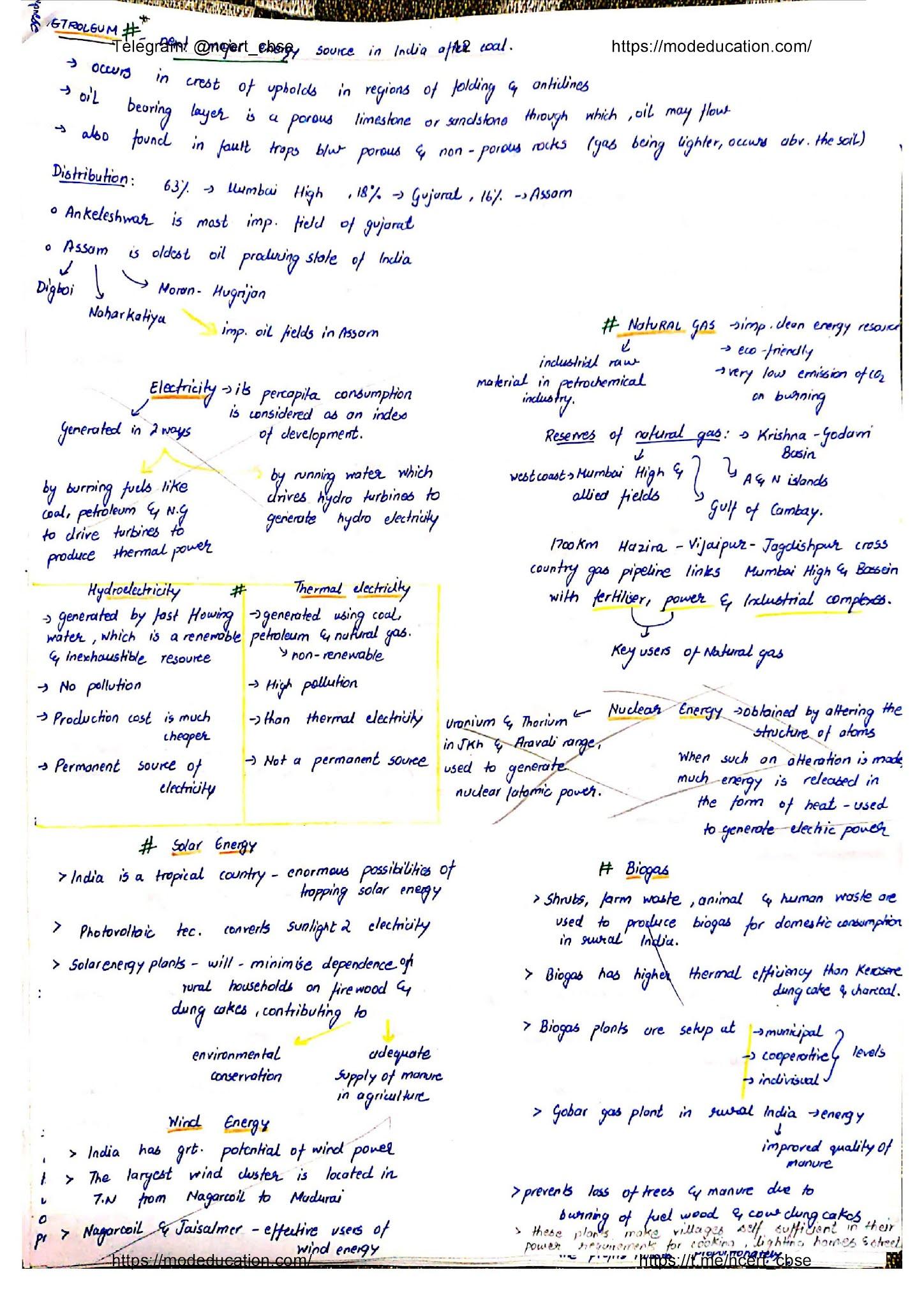 Class 10 Geography Handwritten Notes, class 10 geography chapter 5 handwritten notes