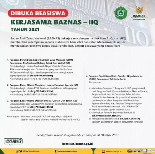 Beasiswa Kuliah 2021, Dibuka! Pendaftaran Beasiswa Kerjasama BAZNAS - Institut Ilmu Al-Qur'an Bagi S1 S2 dan S3, Cek Kualifikasinya